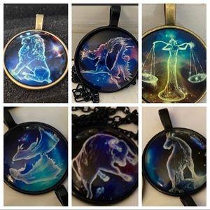 3/$25 Glow In The Dark Zodiac Necklace Horoscope